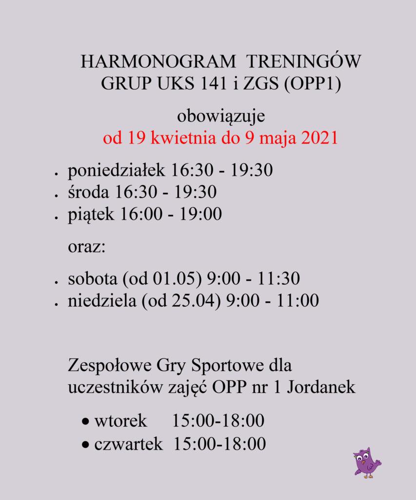 HARMONOGRAM TRENINGÓW GRUP UKS 141 i ZGS (OPP1)