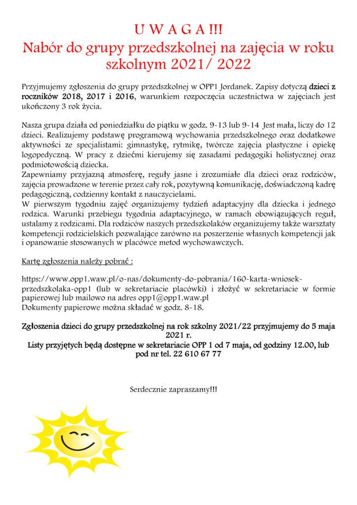 Nabór do grupy przedszkolnej na zajęcia w r. szk. 2021/2022